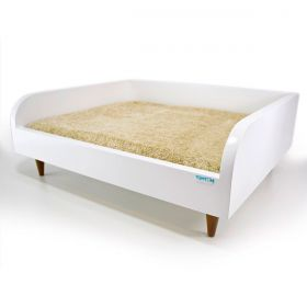Sofá para Cachorro Tomtom Pet Branco com Almofada Bege - M