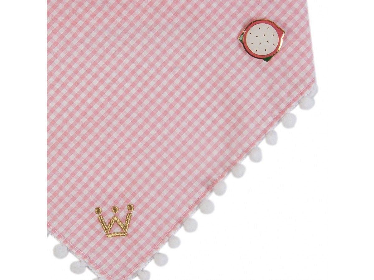 Bandana Woof Classic Pic Nic Xadrez Rosa com Pin Pitaya