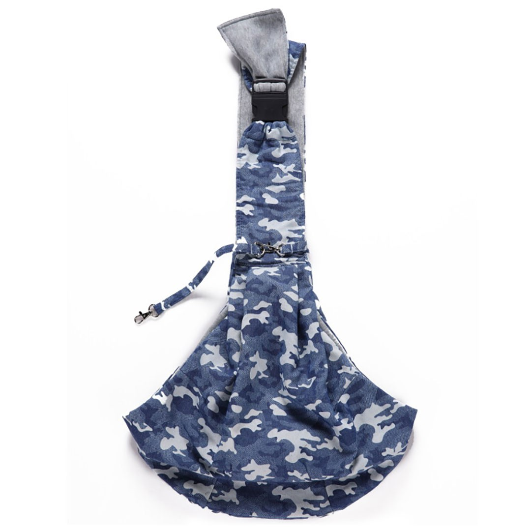 Bolsa Sling Pet Camuflado Azul com Ajuste de Fecho Petite Sofie