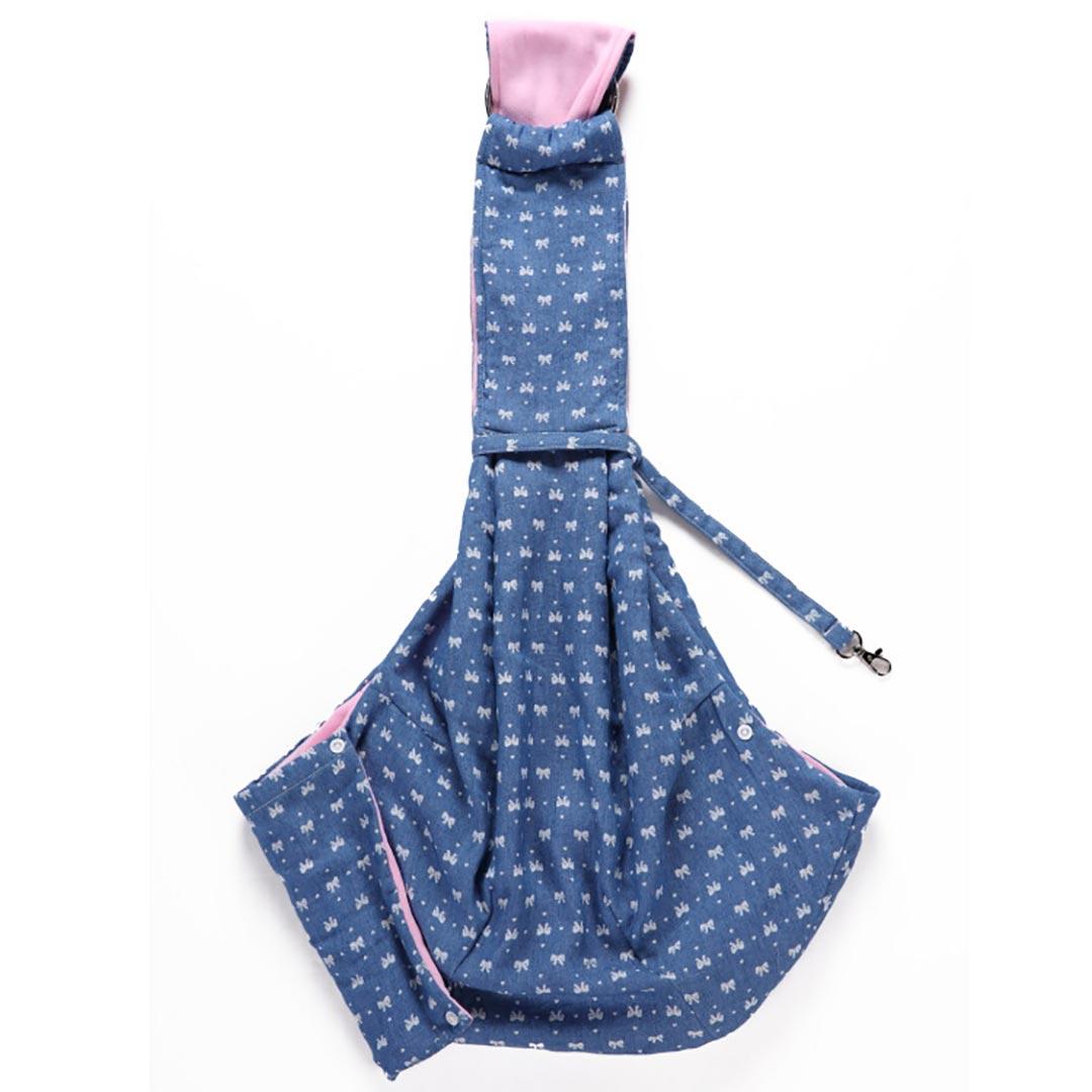 Bolsa Sling Pet Laço Azul/Rosa Ajustável com Bolso Petite Sofie