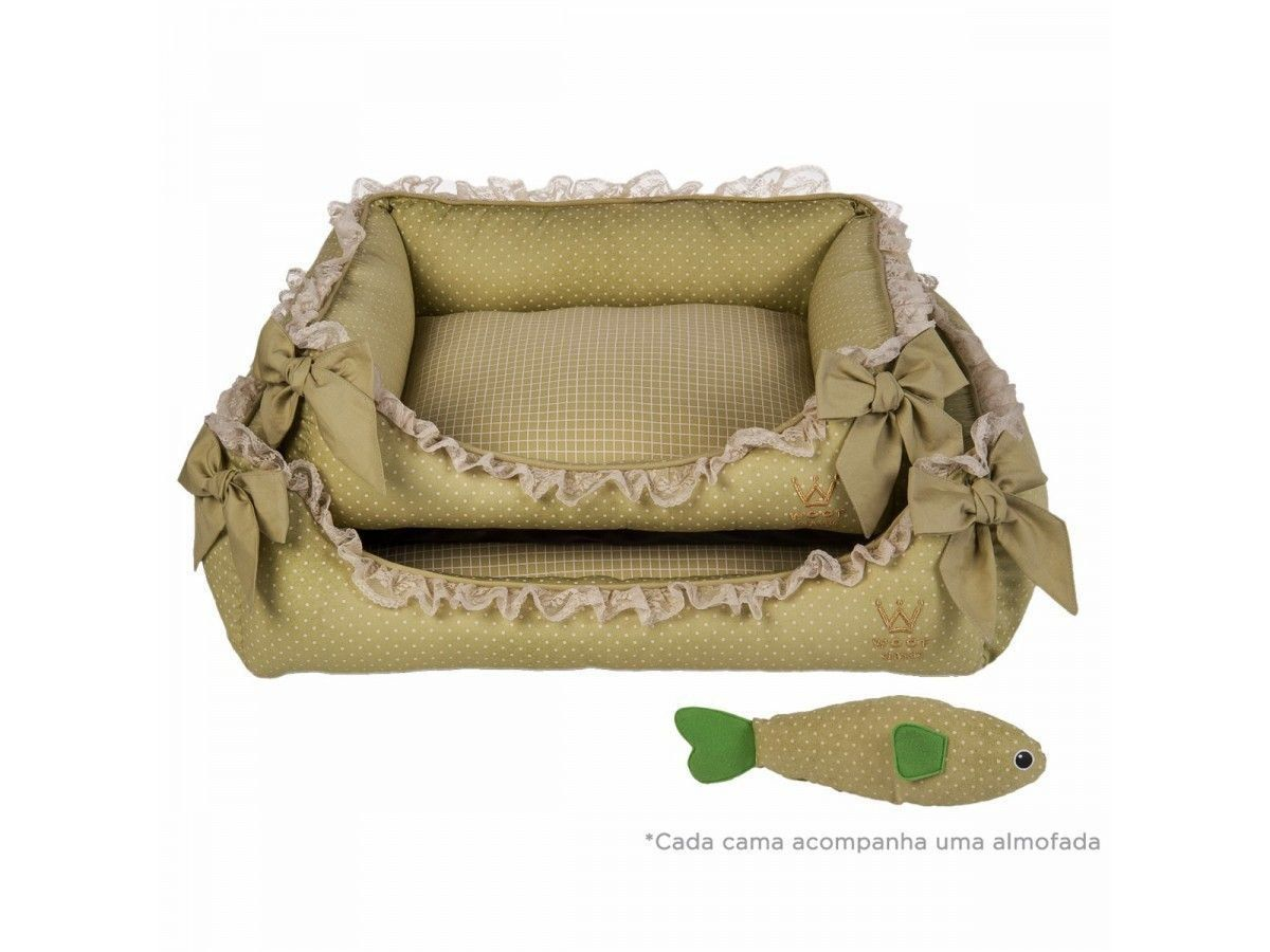 Cama Woof Classic Deep Laço Renda Verde