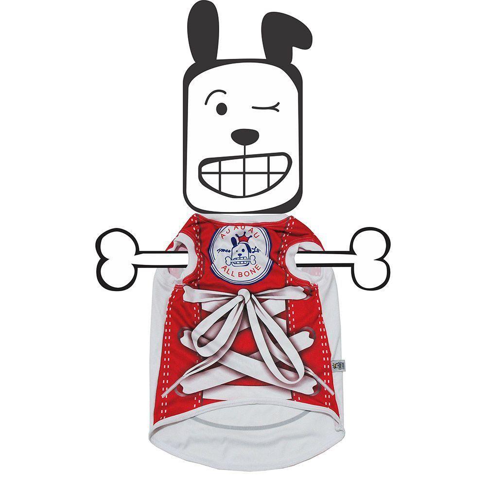 Camiseta Pet All Bone Vermelha Petite Sofie - P