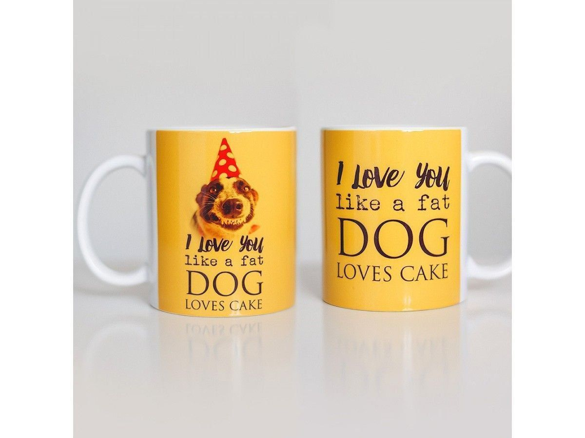 Caneca de Cachorro Love You Like a Fat Dog Like Cake