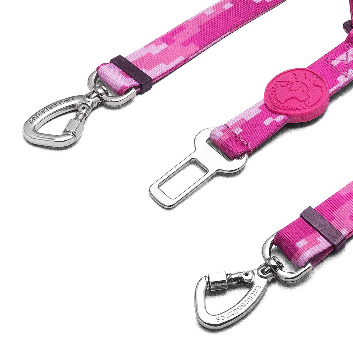 Cinto de Segurança Duplo Rosa para cães Linha Educativa by Cleber Santos®