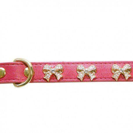 Coleira com Strass Woof Pet Laço Pink 12 (P)