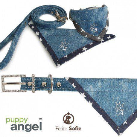 Kit Guia + Coleira Bandana Puppy Angel Jeans Cowboy - M