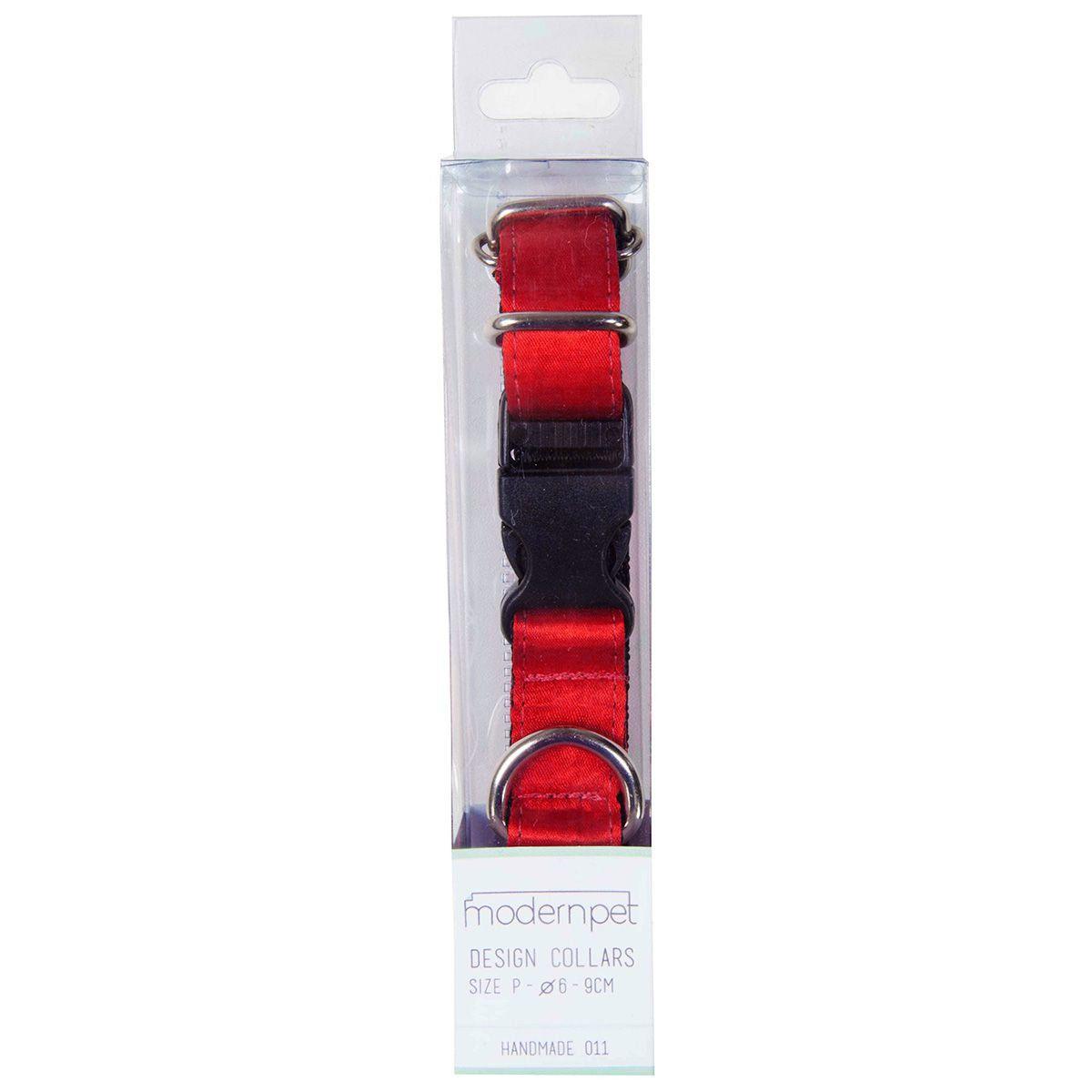 Coleira Modernpet em Nylon Vermelha