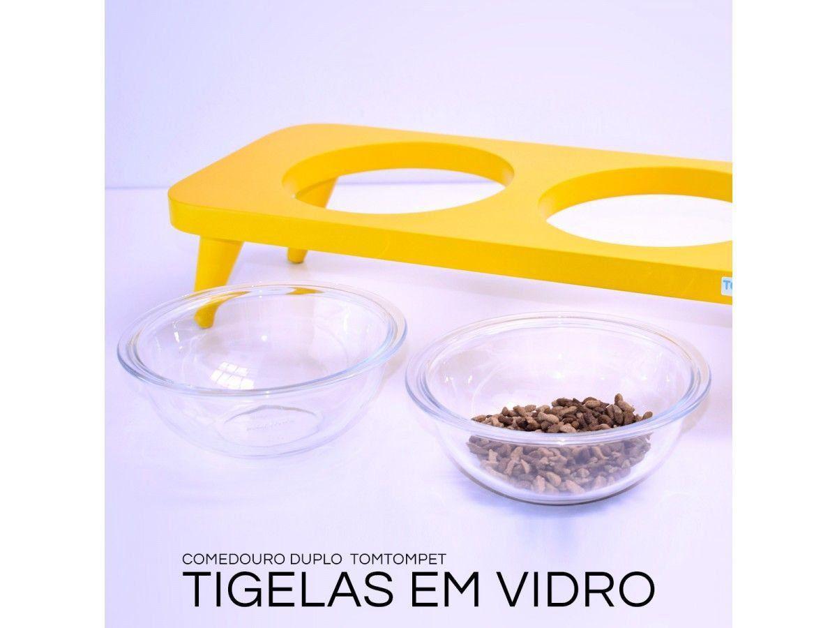 Comedouro de Vidro Elevado Triplo Amarelo