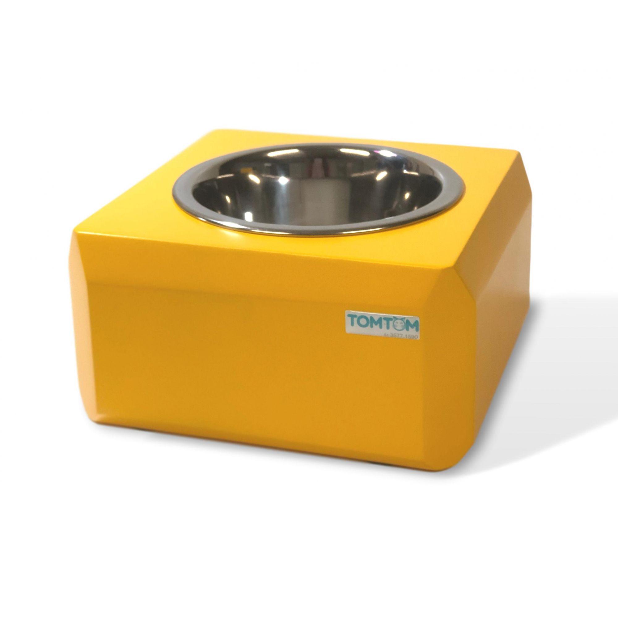 Comedouro Elevado Cubo Mágico Amarelo Tomtom