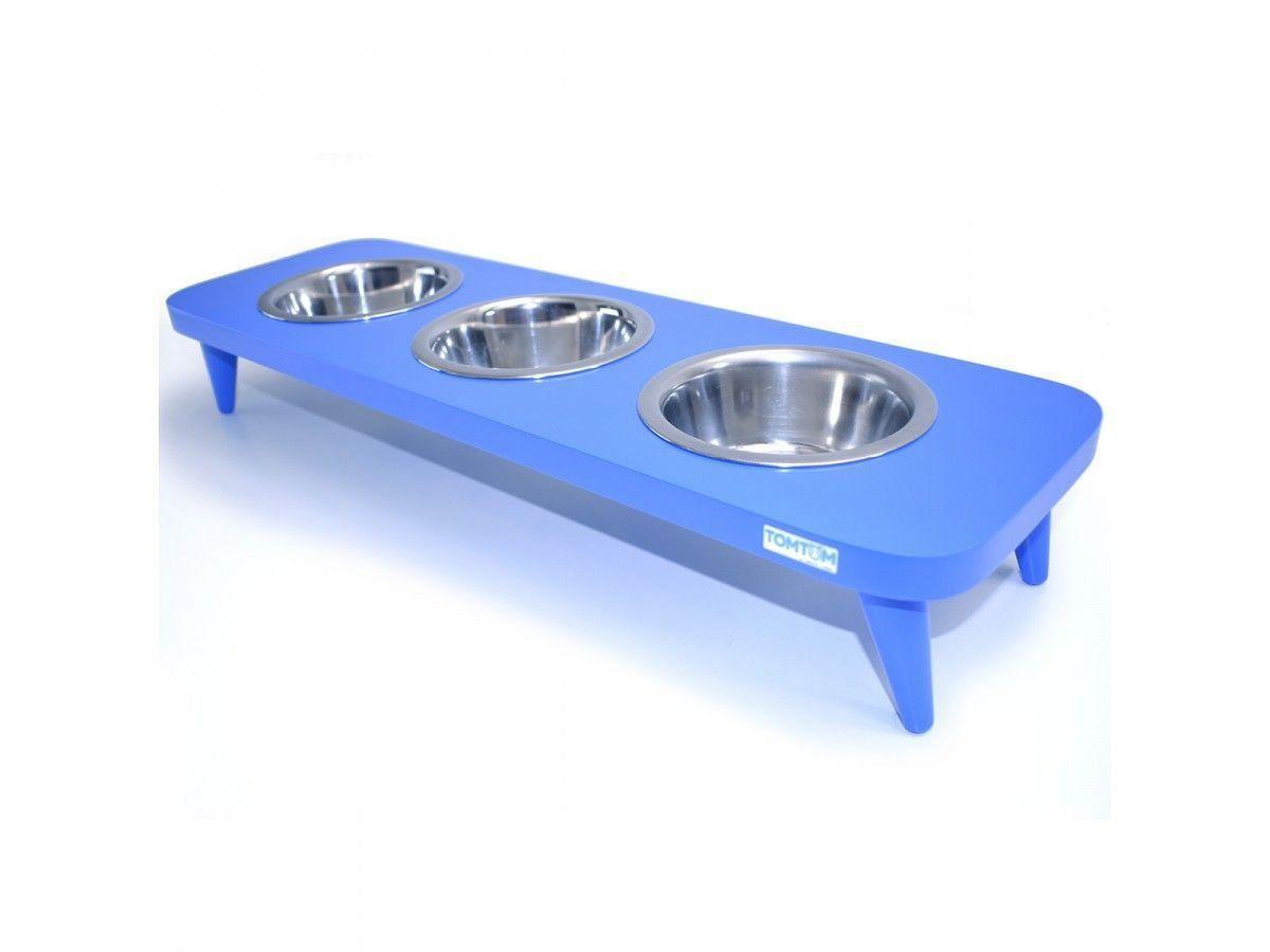 Comedouro Inox Triplo Elevado Azul
