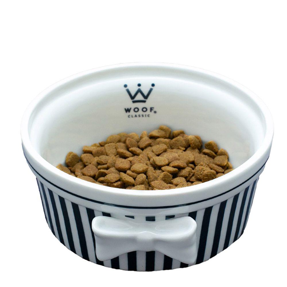 Comedouro Laço Woof Classic Listrado Azul Marinho