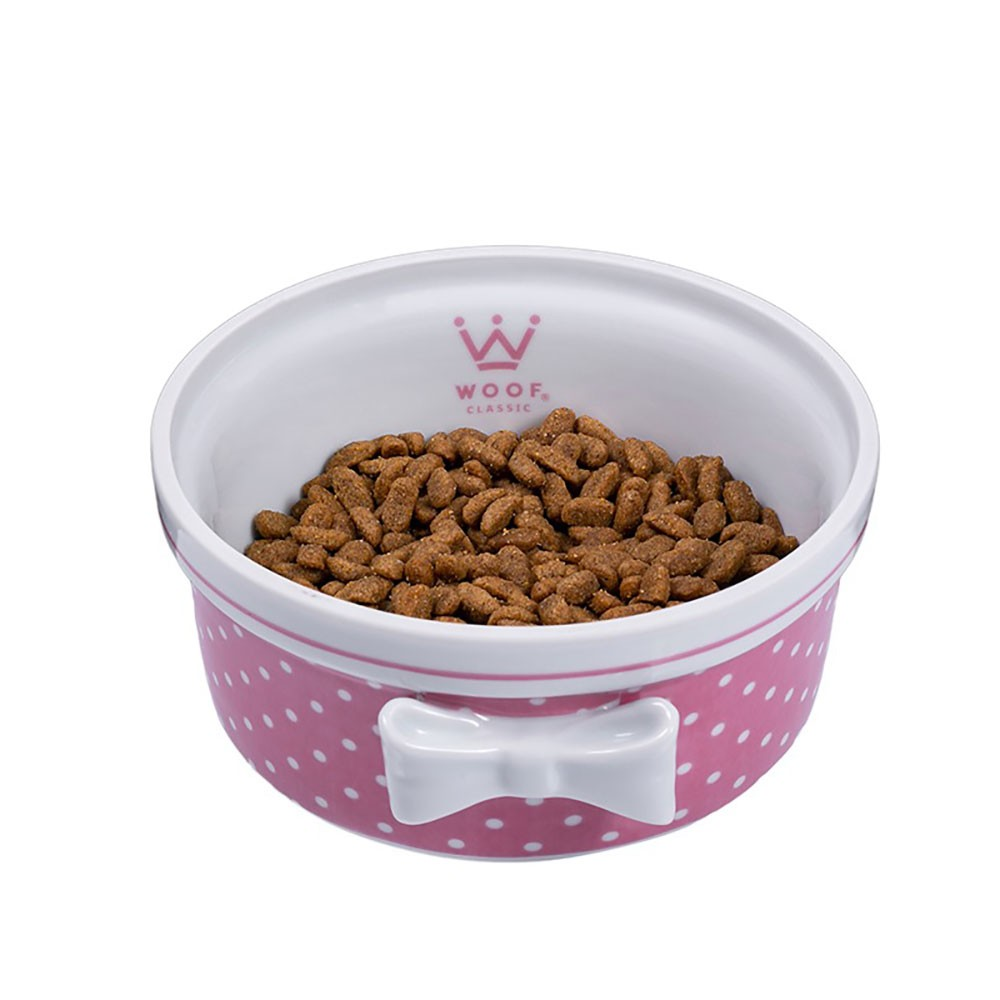 Comedouro Laço Woof Classic Poá Rosa London Lovers Mia