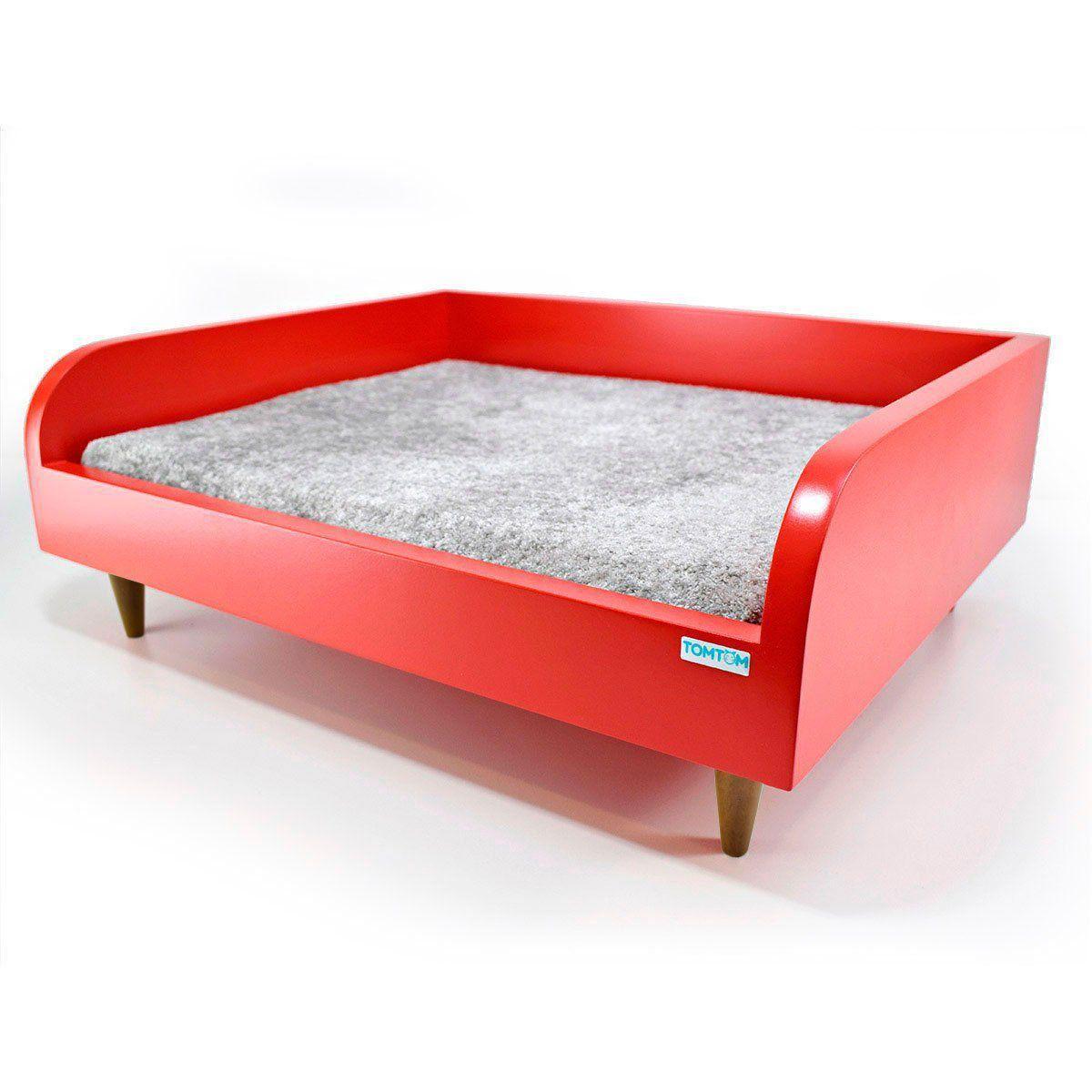 Sofá para Cachorro Tomtom Vermelho com Almofada Cinza - P
