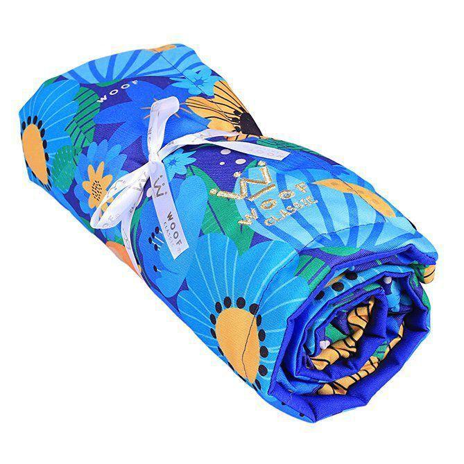 Kit Caminha Woof My Garden + Jogo Americano + Tigelas + Manta Azul