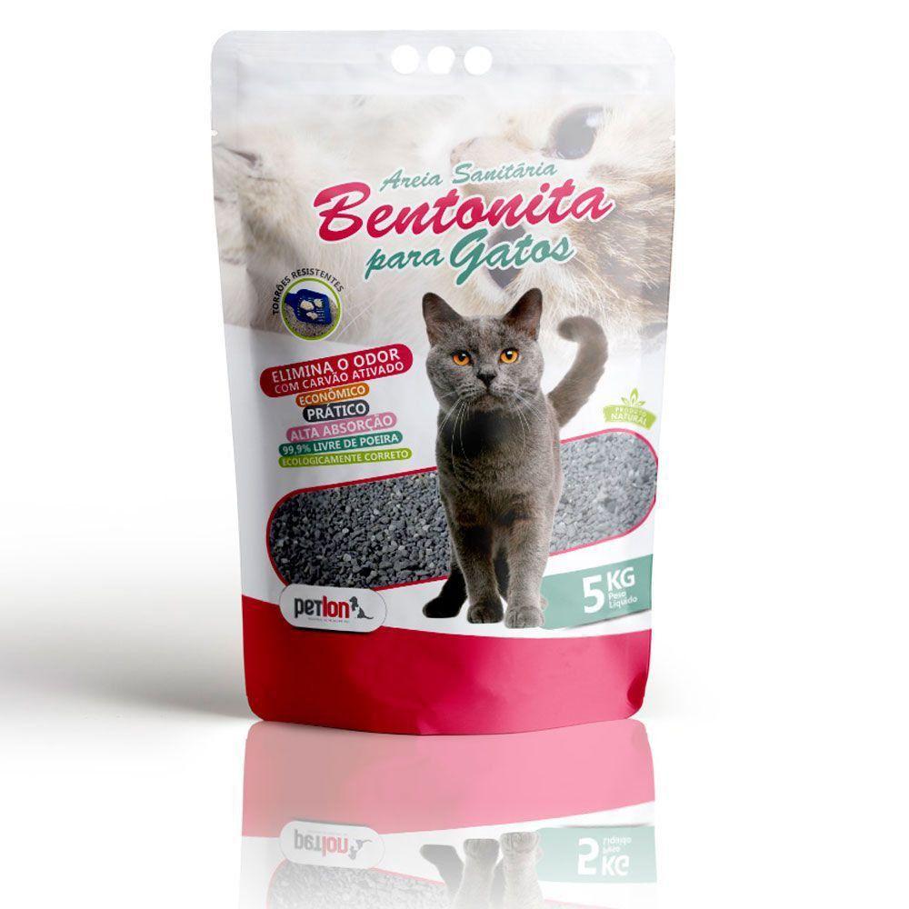 Kit com 2un de 5kg Areia Sanitária Bentonita Petlon para Gatos