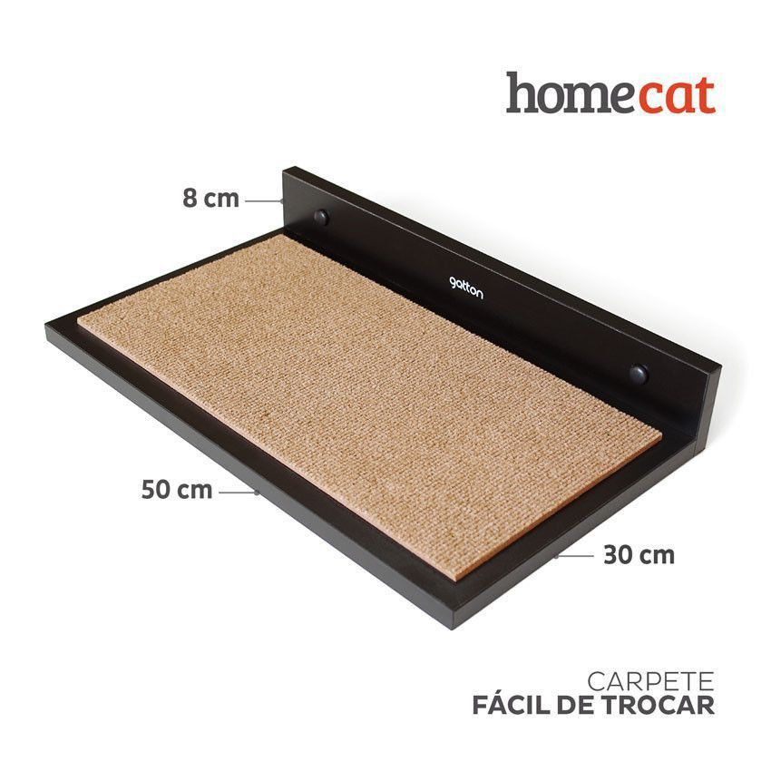 Kit de Prateleiras Trio Homecat Gatton Preto