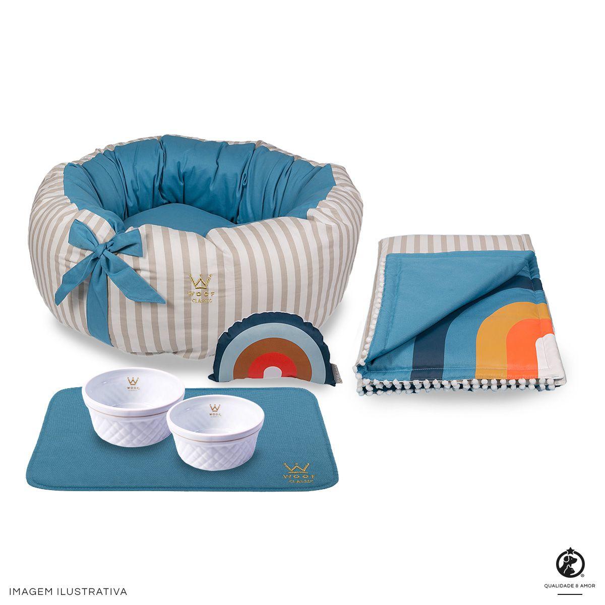 Kit Fofinha Azul Sweet Dreams Woof: Cama + Tigelas + Edredom + Jogo Americano