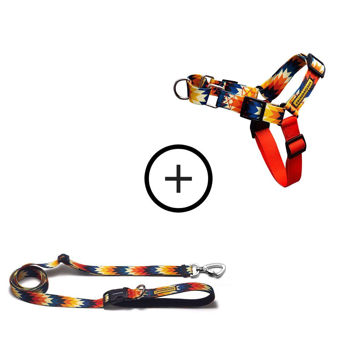 Kit para Correr com o Cachorro: Peitoral Anti-Puxão + Guia Running Inti