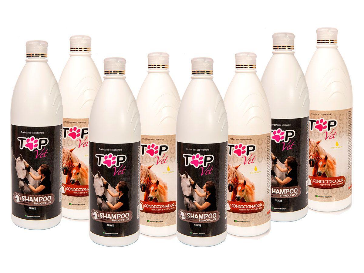 Kit Shampoo Branqueador + Condicionador Top Vet Hidratante para Cavalos