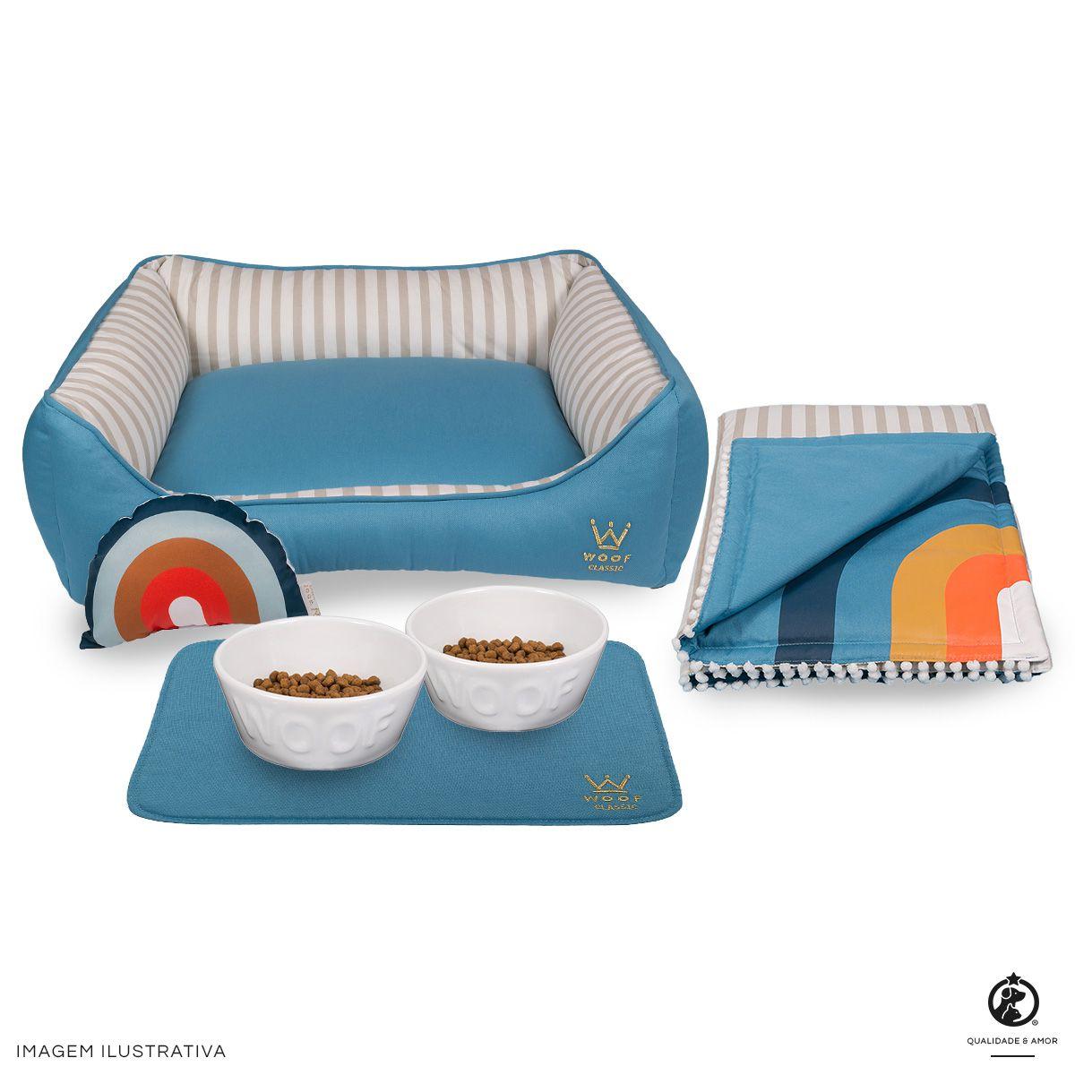 Kit Sweet Dreams Azul Woof: Cama + Tigelas + Edredom + Jogo Americano