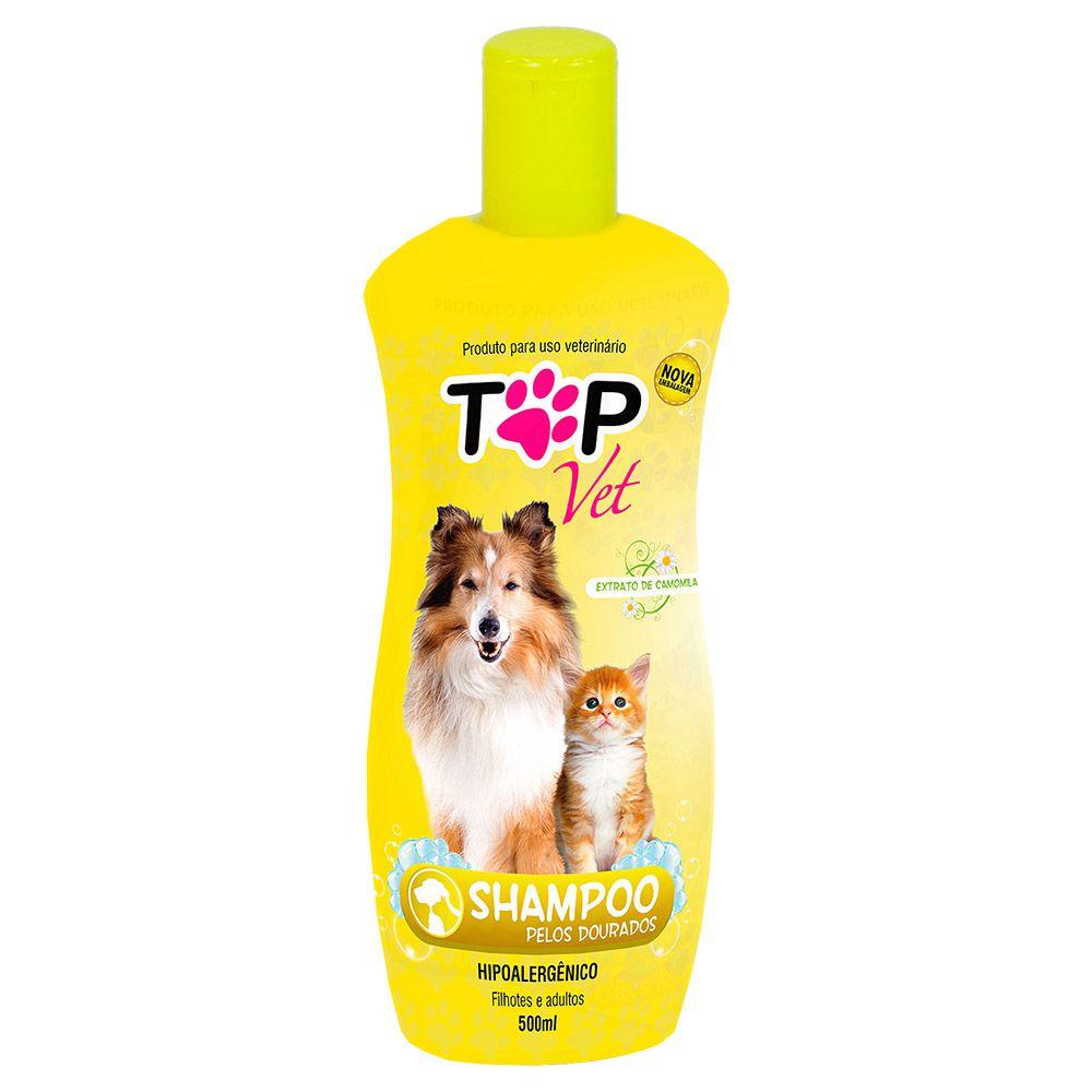 Shampoo para pet com Pelos Dourados Premium 500ml Top Vet