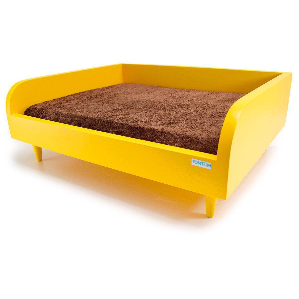 Sofá para Cachorro Médio Tomtom Amarelo com Almofada Marrom - M