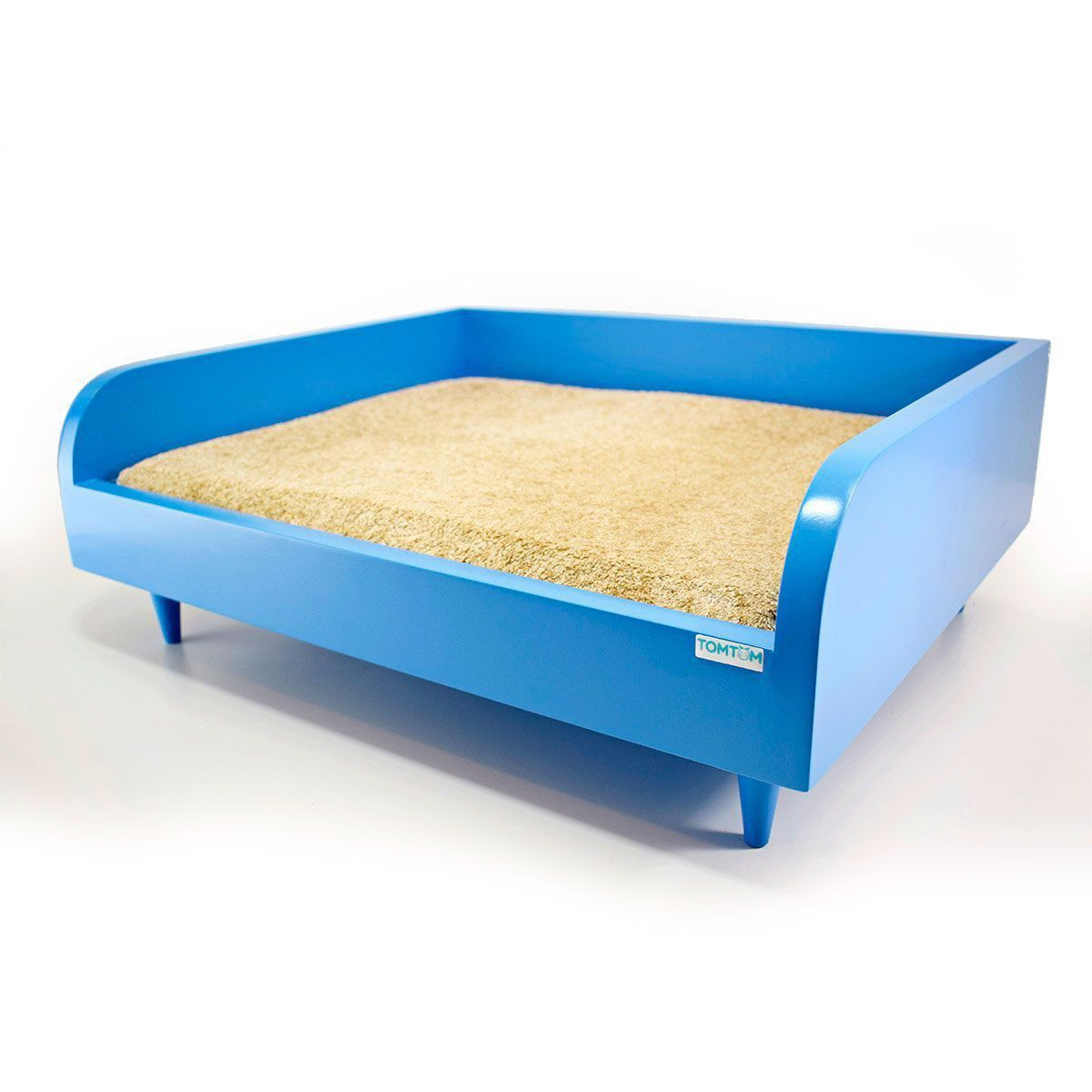 Sofá para Cachorro Tomtom Pet Azul com Almofada Bege - P