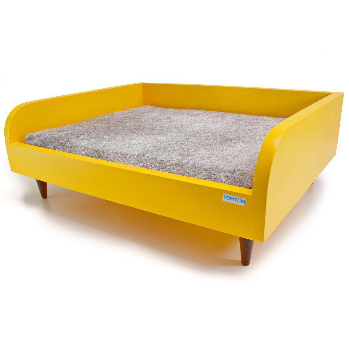 Sofá para Cachorro Tomtom Amarelo com Almofada Cinza - P