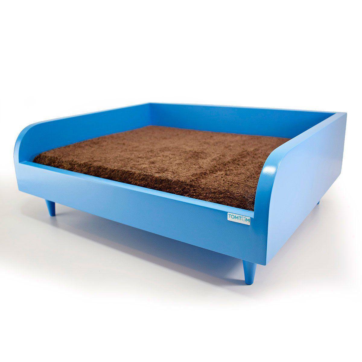 Sofá para Cachorro Tomtom Pet Azul com Almofada Marrom - P