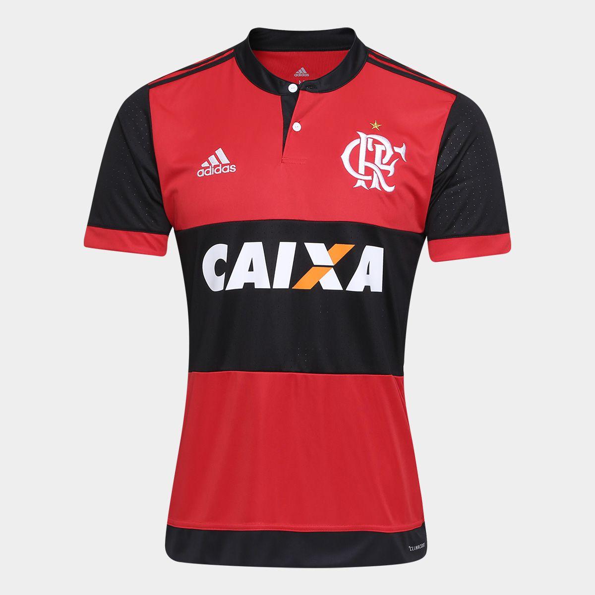 Camisa Flamengo I 17 18 s n° - Torcedor Adidas Masculina - Vermelho e Preto  - Point do Esporte 9798a7f01c985