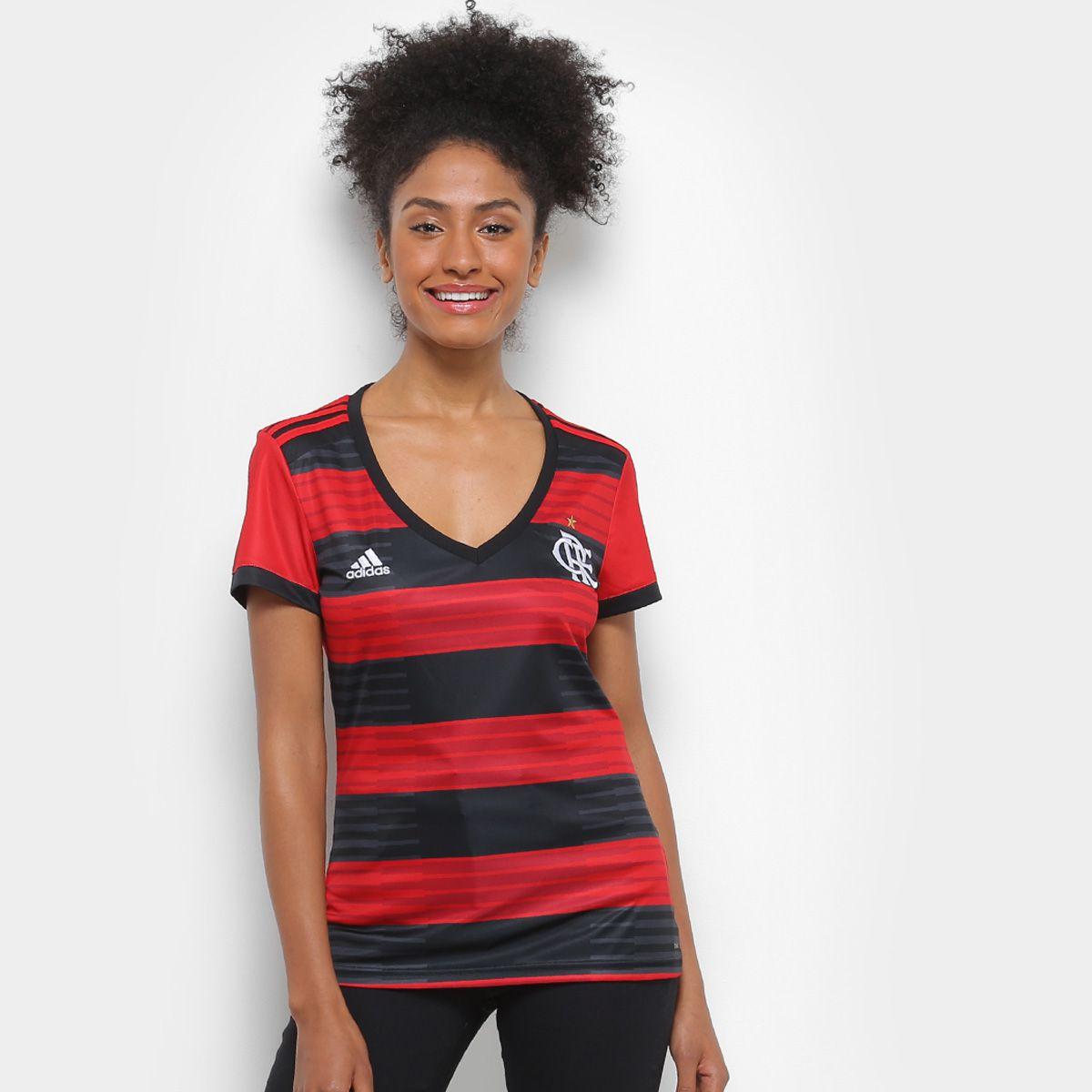 Camisa Flamengo I 2018 s n° Torcedor Adidas Feminina - Vermelho e Preto -  Point do Esporte 7a3e7c6859b96