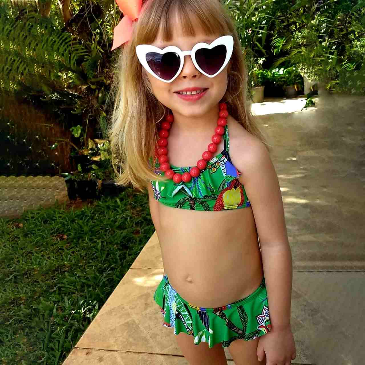 Biquíni Top Com Babados Infantil Cuba Verde 9441 De Chelles