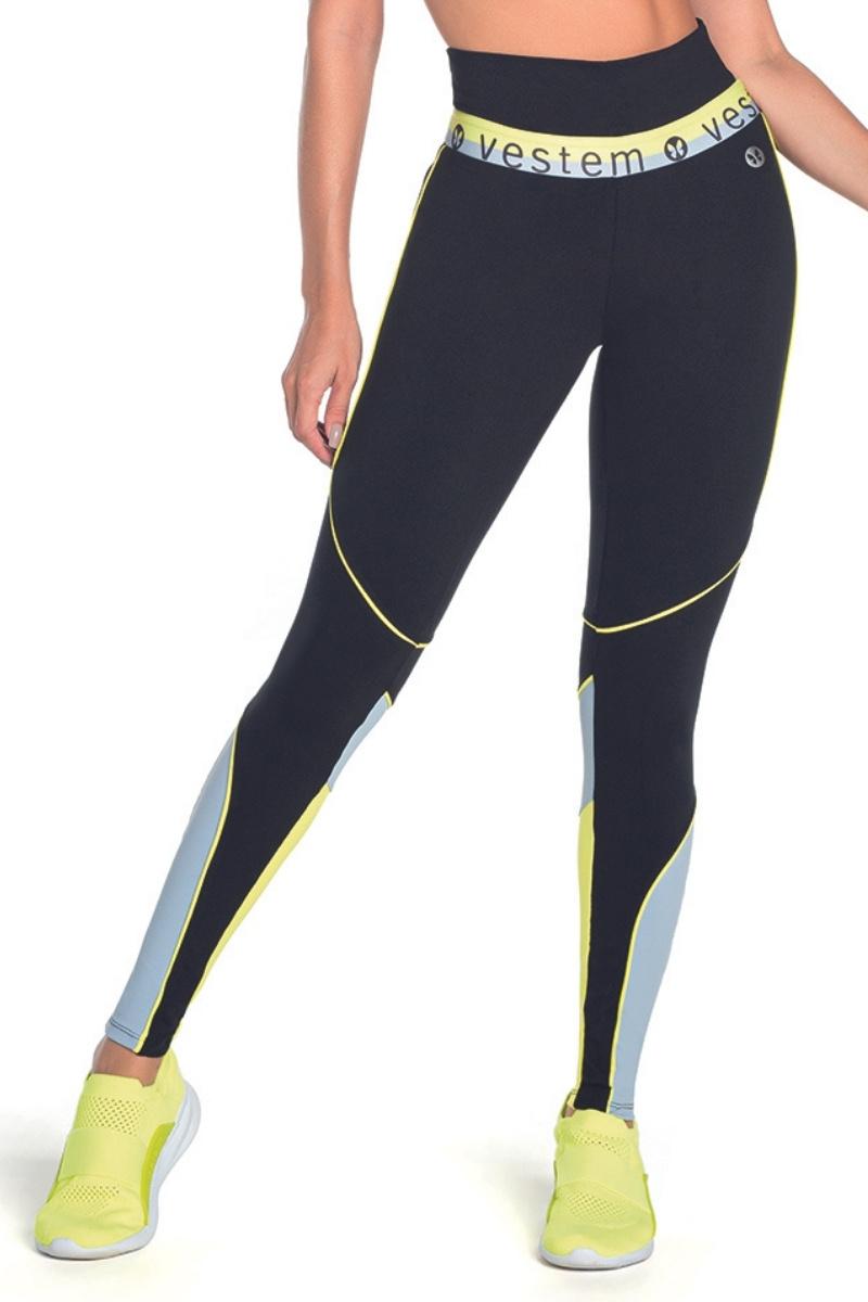 Calça Legging Fusô Encinitas Recortes Preto Com Amarelo Fs1021 Vestem