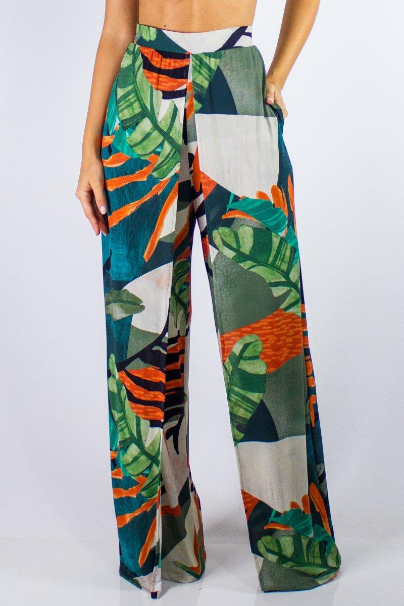 Calça Pantalona Estampada Crepe Botanica 30844052 Lua Morena