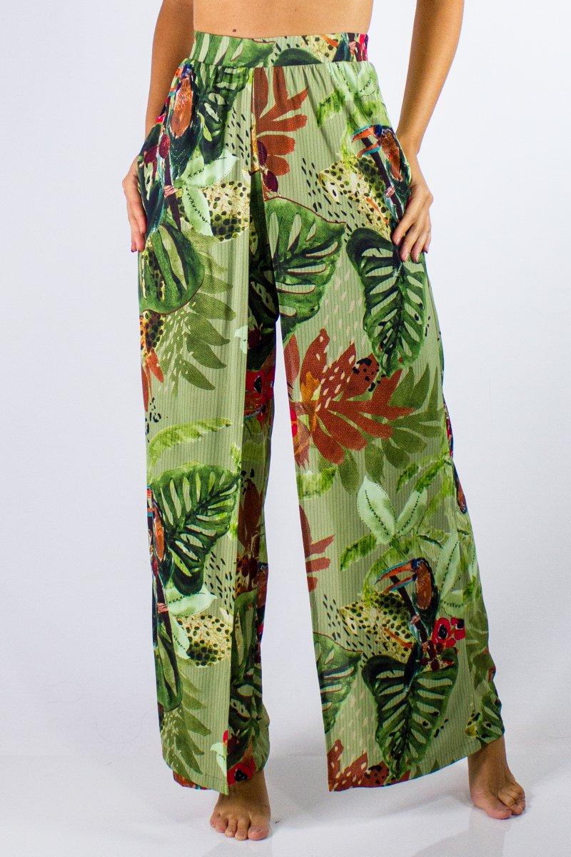 Calça Pantalona Estampada Crepe Oliva 30844042 Lua Morena