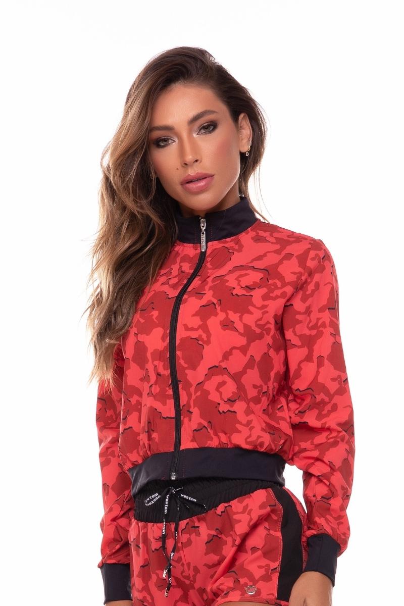 Jaqueta Corta Vento Com Ziper Harmony Camuflado Vermelho Jac156 Vestem