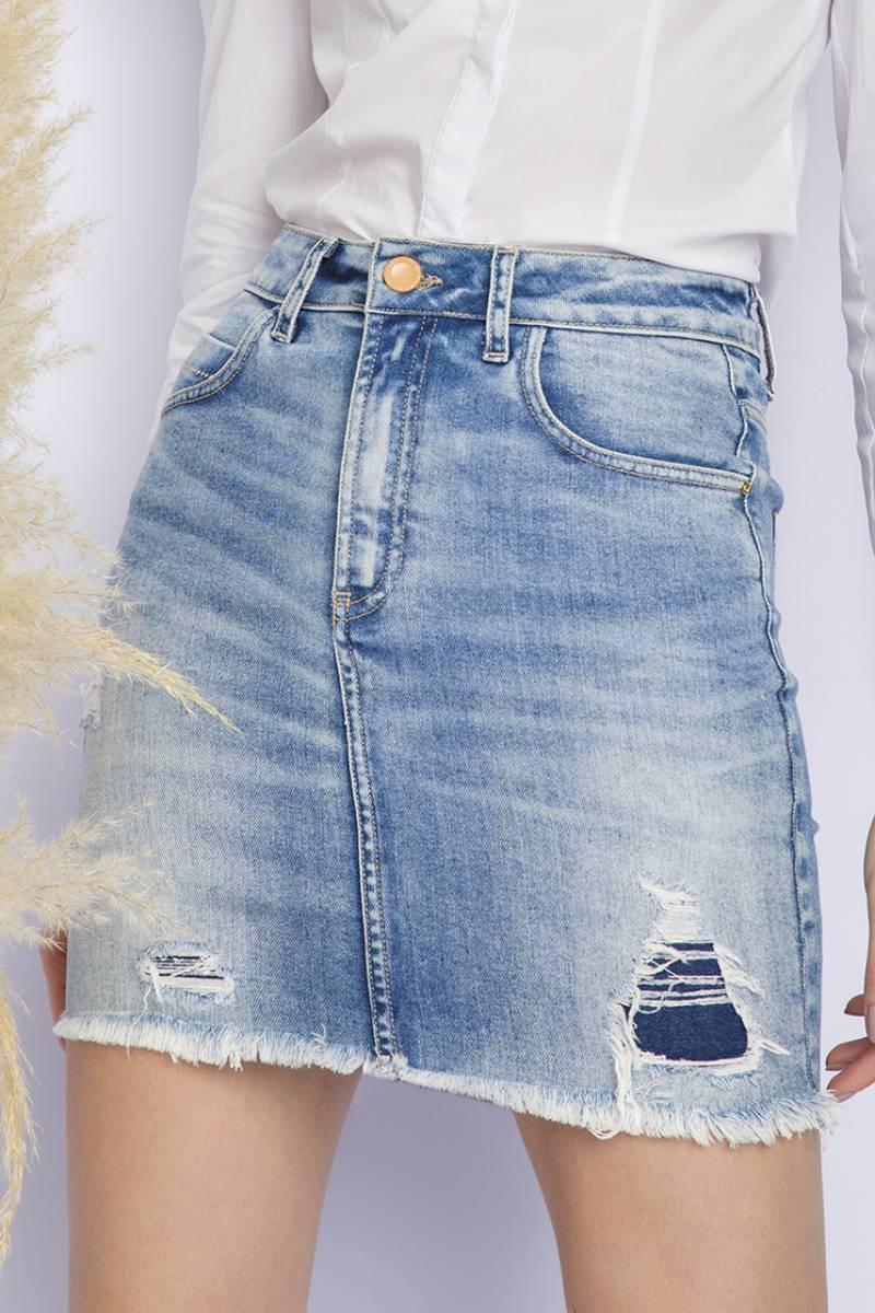Saia Mini Jeans Destroyer F28106 Flor Deliz