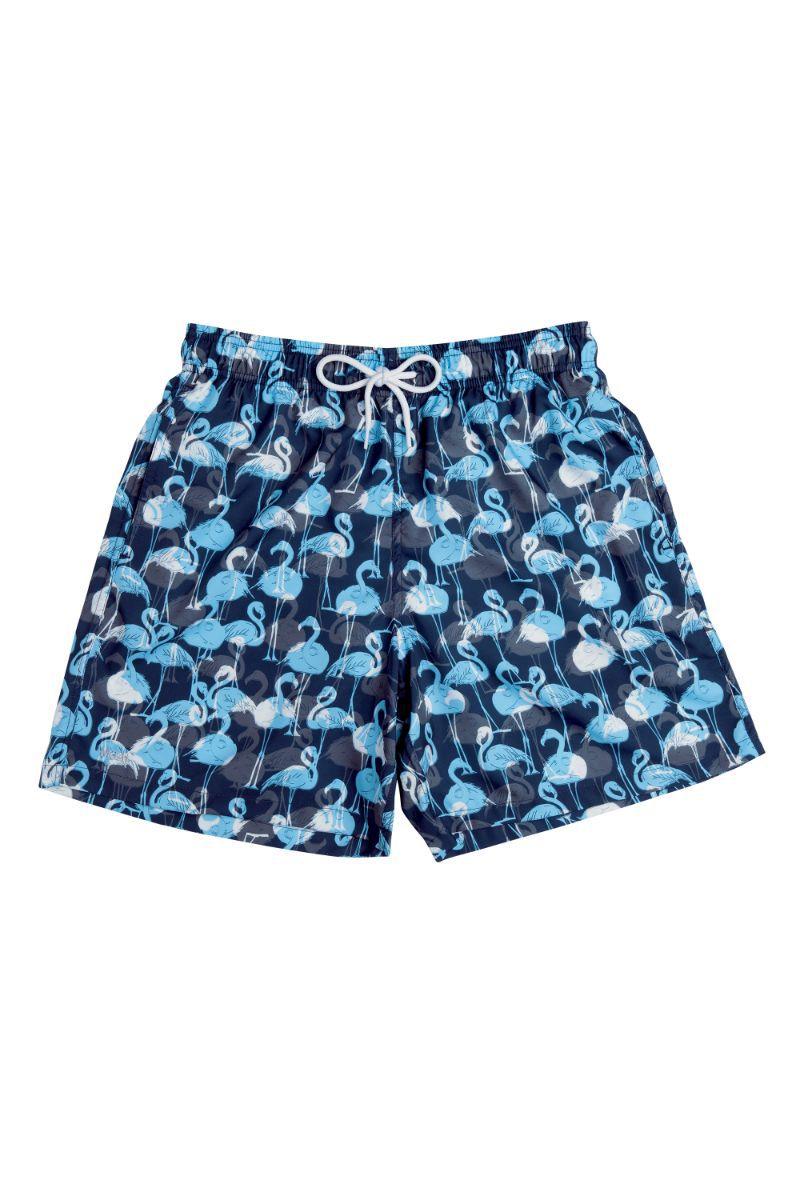 Shorts Estampado Flamingos Azul Marinho 613.27 Mash