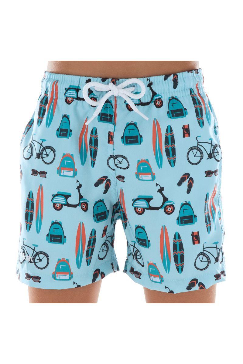 Shorts Infantil Estampado Praia Azul Claro 619.16 Mash
