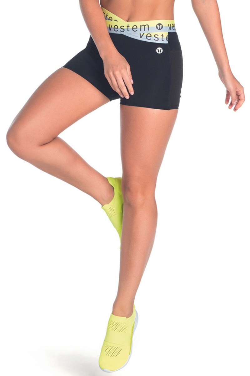 Shorts Italia Com Amarelo Neon Preto Sh287 Vestem