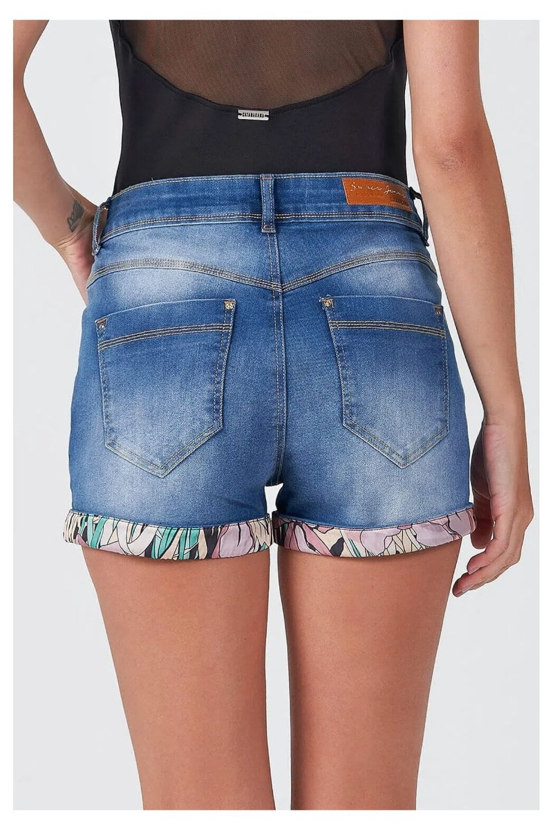 Shorts Miley Tropical Jeans 100% Algodão 20498 Gatabakana