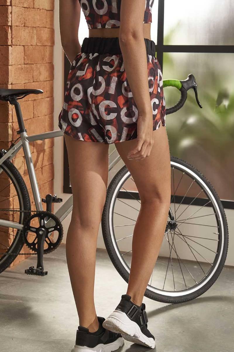 Shorts Nylon Estampado New Vertical Laranja 65700383 Colcci