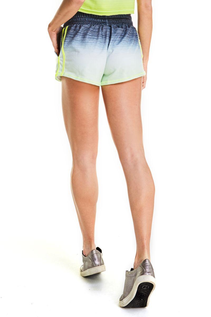 Shorts Prisma Degrade Preto Com Amarelo Sh301 Vestem