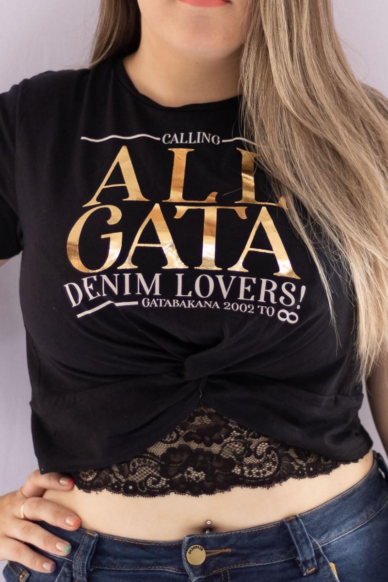 T Shirt Gata Denim Lovers Preto 20564 Gatabakana