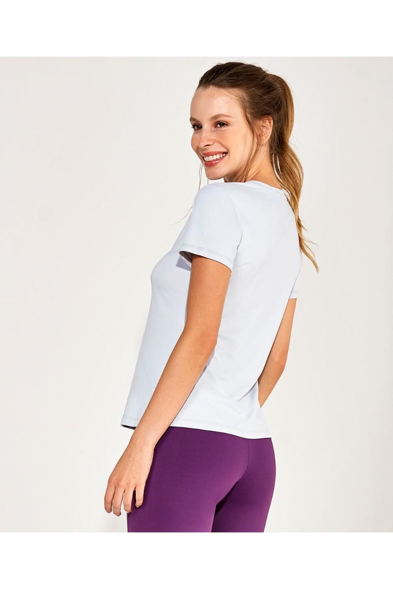 T-shirt Skin Fit Make It Fun Cinza Glacier 2111731 Alto Giro