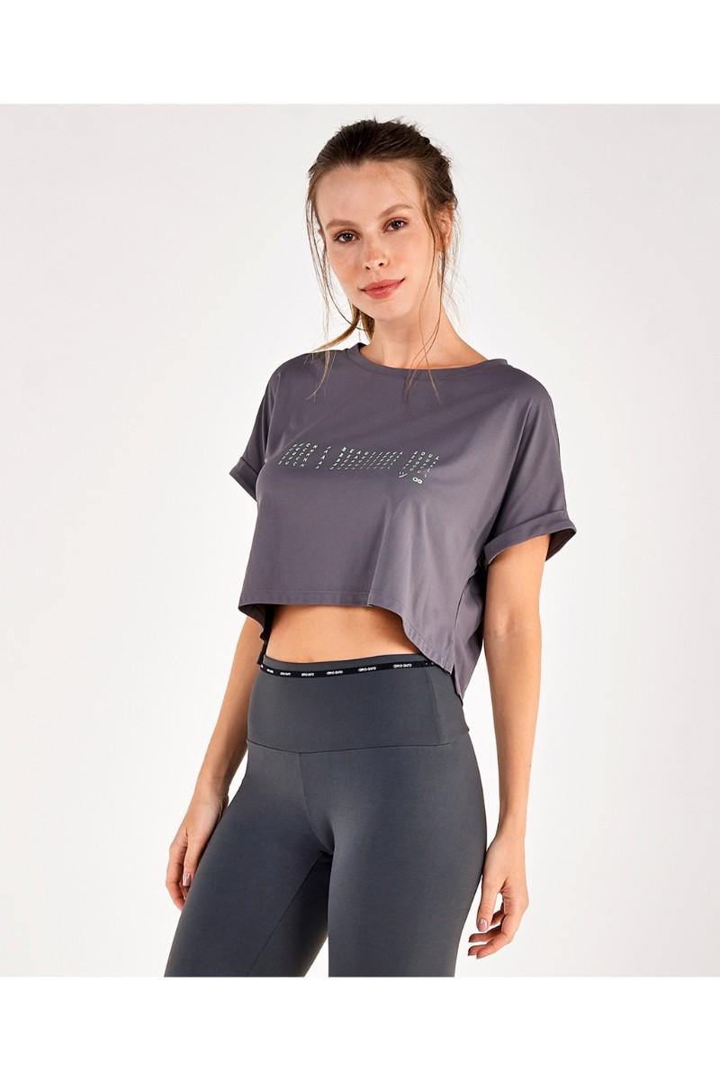 T-shirt Skin Fit Silk E Abertura Lateral Cinza Force 2111733 Alto Giro