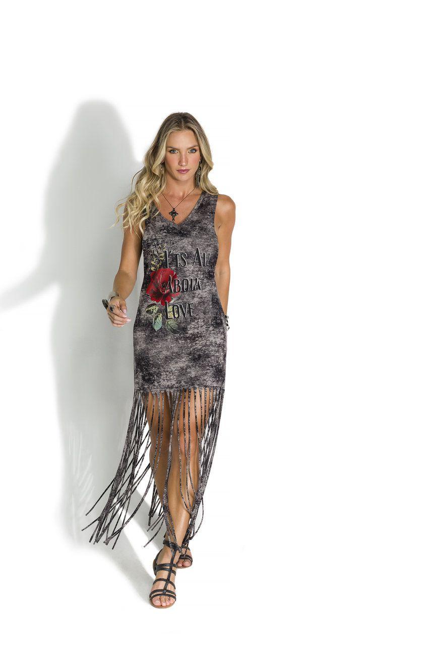 Vestido Com Franjas E Silk Grafite 9266 De Chelles