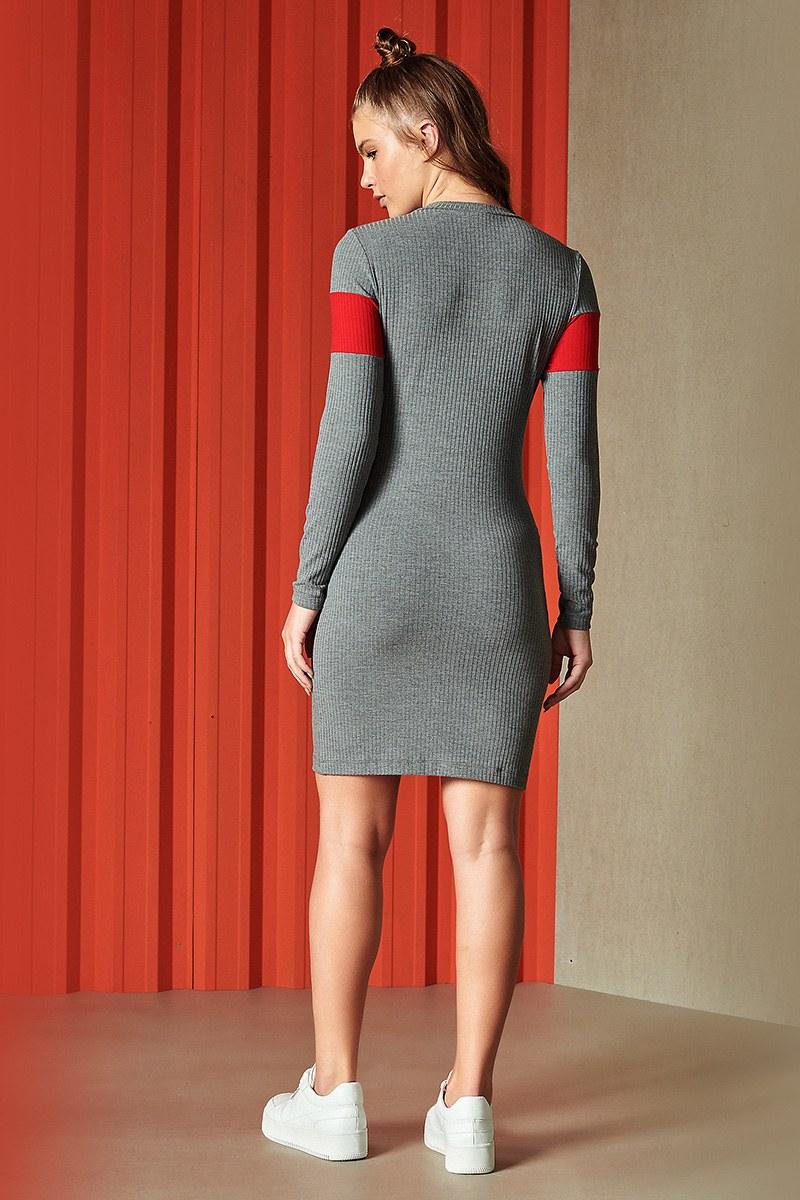 Vestido Curto Canelado Mescla Manga Longa 0445700213 Colcci By Colcci