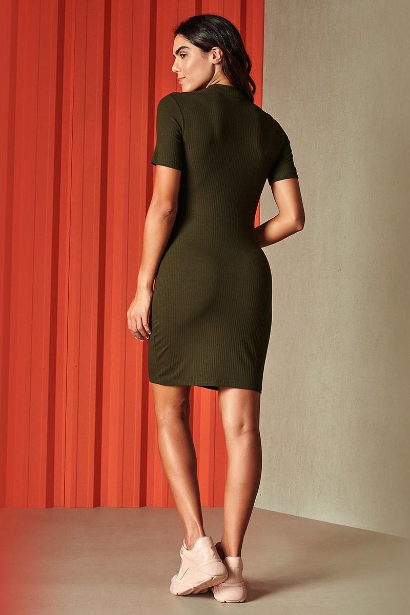 Vestido Curto Canelado Verde Musgo 0445700210 Colcci By Colcci