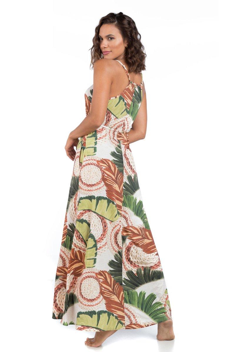 Vestido Longo Estampado C/ Bolso Feito A Mão 32645053 La Playa